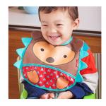 Skip Hop Zoo Tuck-Away Water-Resistant Baby Bib, Hedgehog
