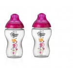 Tommee Tippee Closer to Nature 340 ml Decorated Bottle, Pink