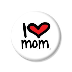 YM Sketch - I Love Mum Pin Button