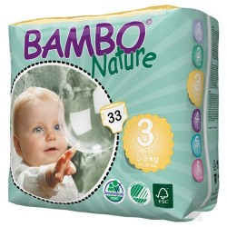 Bambo Nature Baby Diapers Classic, Size 3 (5-9), 33 Count