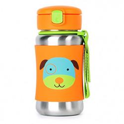 مطرة  بمصاص معزولة من الستانلس ستيل للاطفال للاستخدام اثناء التنقل من سكيب هوب بيبي زو، 12 اونصة, الكلب