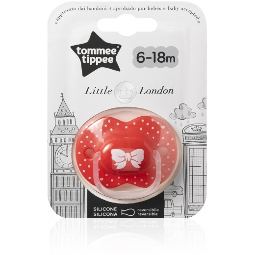 Tommee Tippee Little London Pacifier, 6-18 months, Red