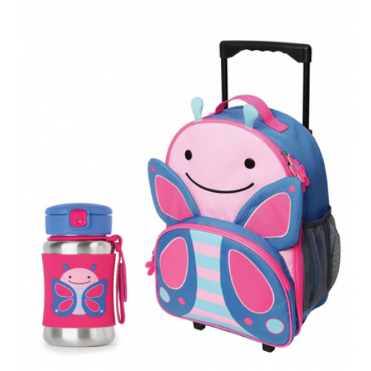 Skip Hop Zoo Rolling  Backpack & Stainless Steel Straw Bottle -Butterfly