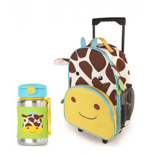 Skip Hop Zoo Rolling  Backpack & Stainless Steel Straw Bottle -Giraffe