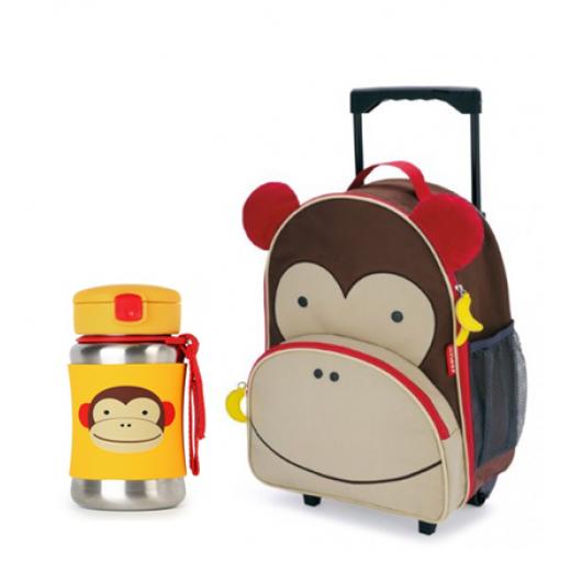 Skip Hop Zoo Rolling  Backpack & Stainless Steel Straw Bottle -Monkey
