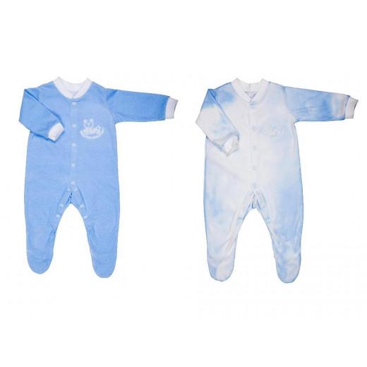 لباس تنبيه حراره الجسم من قطعتين من بيبي سيف مقاس 0-3 اشهر, ازرق