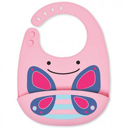 SkipHop Zoo Fold and Go Silicone Bib - Butterfly