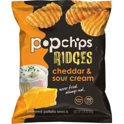 Pop Chips Gluten Free Chips Ridges Cheddar & Sour Cream 23g