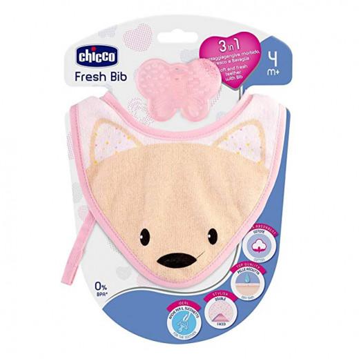 Chicco Fresh Bib, Teething Ring with Pink Bib