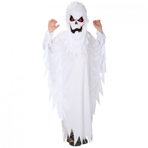 Halloween Scary Costumes for Kids White Ghost Costume Robe for Boys, Girls dress up (5-8 years old) - Large