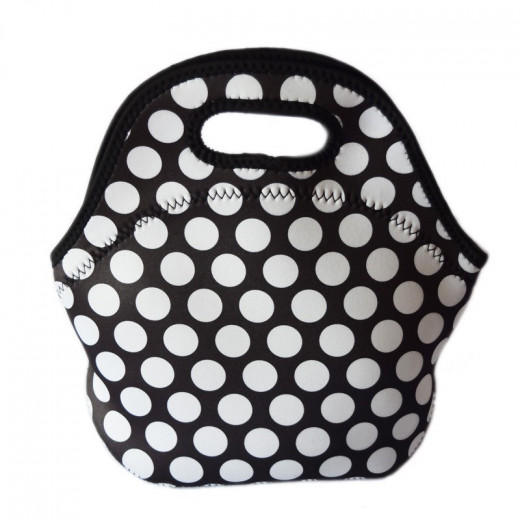 Travel Lunch bag Tote- Black Dots
