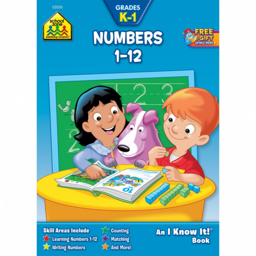 School Zone- Numbers 1 to 12 Workbook Grades K-1