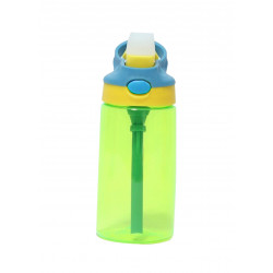 GenioWorld 14 oz Auto Spout Straw Flip Kids Tritan Water Bottle, Green