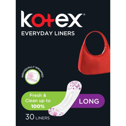 Kotex Feminine Liners Long Scented, 30 Pads