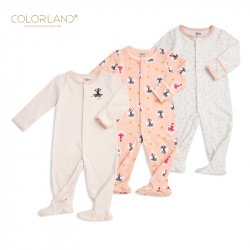 Colorland - Baby Romper / Pink Princess 3 Pieces In One Pack - 0-3 Months