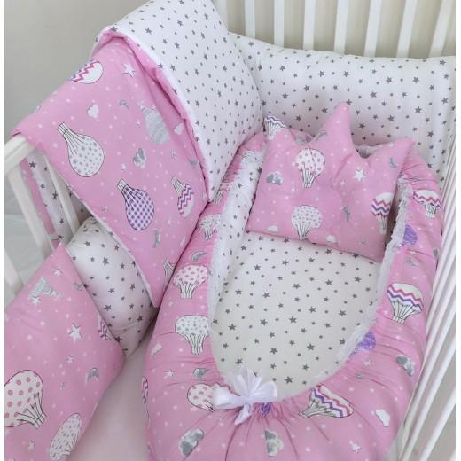 Anett Newborn Baby Bedding Set, ِAirships - Pink