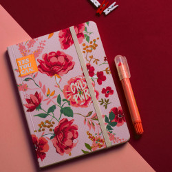 Mofakera Pink Vintage Floral Notebook With Rubber Band A5 Size