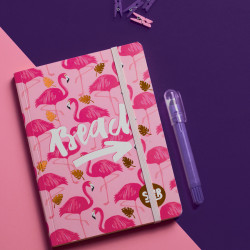 Mofakera Flamingo Notebook with Rubber Band A6 Size