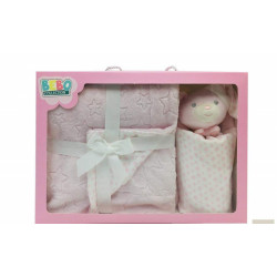 NOVA Doudou W/Blanket Bear 075x100CM Pink