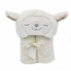 Hooded Towel Blanket (75x100 cm)-Color: Cream