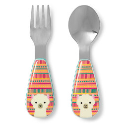 Skip Hop Toddler Utensils, Fork and Spoon Set, Llama