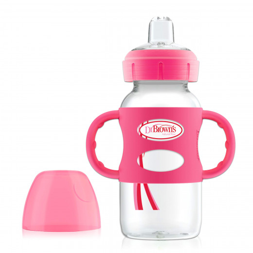 Dr. Brown's 270 ml Wide-Neck Options+ Sippy Bottle w/ Silicone Handles, Pink