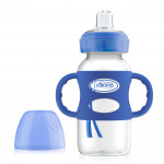 زجاجة رضاعة بعنق عريضة 270 مل مع مقابض سيليكون من دكتور براون ، أزرق