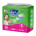 Fine Baby Diapers, Size 5, Maxi 11–18kg, Economy Pack of 26 diapers