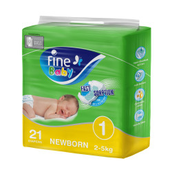 Fine Baby Diapers, Size 1, Newborn Pack of 21 diapers