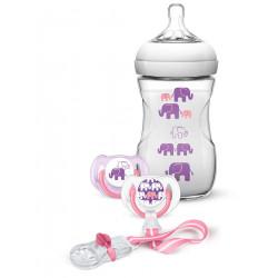 مجموعة هدايا رضاعة مع لهاية بتصميم الفيل من فيليبس افينت ، فتاة