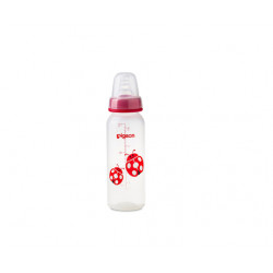 Pigeon Decorated Bottle - (Slim Neck) 240ml 1PC - Pink