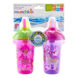 Munchkin Click Lock 9oz Decorated Flip Straw Cup - 2 Pack - Pink&Purple