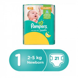 Pampers Baby-Dry Diapers, Newborn Size, 2-5 kg, 21 Count