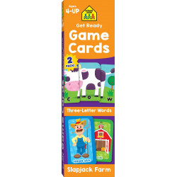School Zone Get Ready Game Cards Three-Letter Words & Slapjack Farm 2-Pack, 112 cards