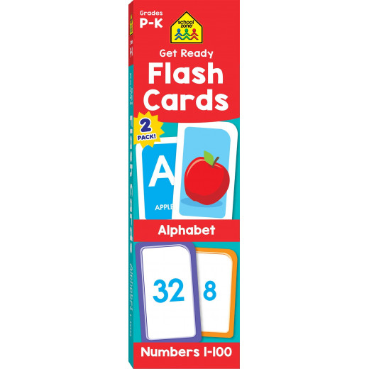 School Zone Get Ready Flash Cards Alphabet & Numbers 2 Pack 4-6, 112 cards