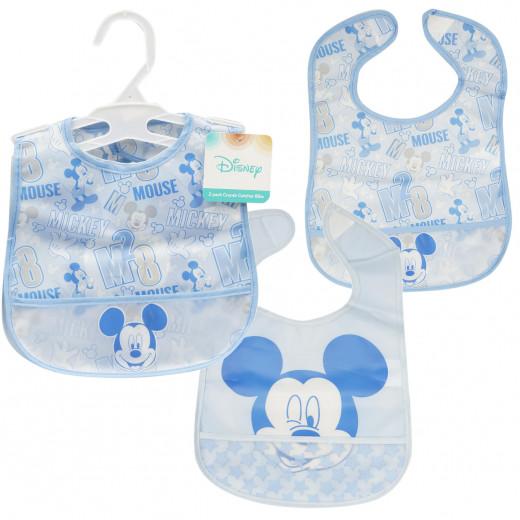2 Pack Mickey Mouse Crumb Catcher Bib, Blue