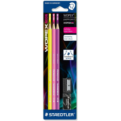 Staedtler Wopex Neon HB Premium Quality Pencil Set Pack of 3 with Sharpener and Eraser