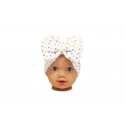 Baby Turban Headband, White with Colored Dots