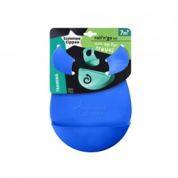 Tommee Tippee Roll 'n' Go Bib Rolls Up for Travel 7m+, Blue