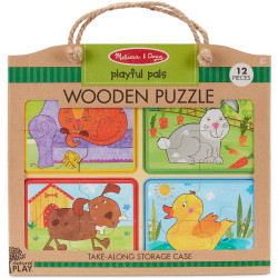 Melissa & Doug Natural Play Wooden Puzzle: Playful Pals