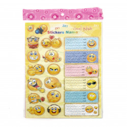 Stickers Name, Emoji Design, 2 Sheets, 27X19 cm