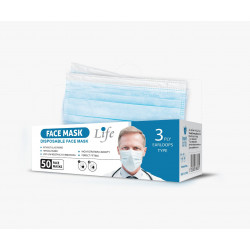 Baby Life Disposable Face Masks for General Use, Case of 50 Masks, Blue