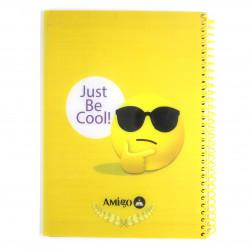 """دفتر ملاحظات مع سلك بتصميم كتابة """"جست بي كول"""" اللون الأصفر من أميجو: 70 صفحة,2 أقسام"""