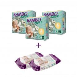 3x بامبو نيتشر مقاس 3 (5-9 كجم) 33 قطعة + 2 مناديل بامبو ناتشر المبللة 80 قطعة