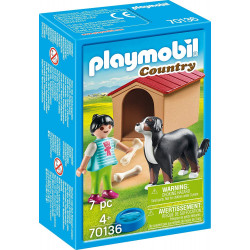 مجموعة لعب بشكل الكلب مع بيت الكلب مكونة من 7 قطع من بلاي موبيل