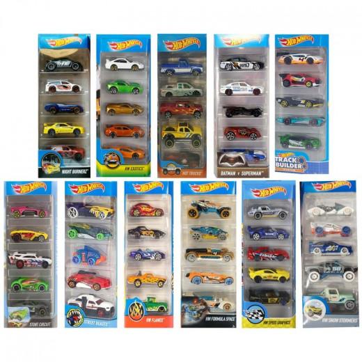 عبوة هدايا سيارات هوت ويلز 5 (عبوة واحدة) - اشكال مختلفة - اختيار عشوائي