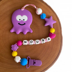 Munch Monsters Personalized Pacifier & Teether Clip, Purple Octopus