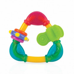 Nuby Hard/Soft Triangle Teether - 3m+, Red