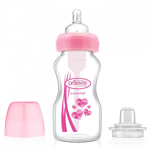 "Dr. Brown's, 270 ml Wide-Neck ""Options"" Transition Bottle w/ Sippy Spout - Pink, 1-Pack"
