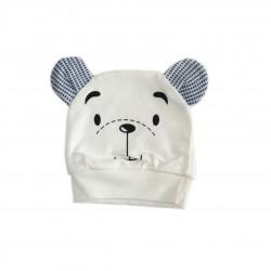 Newborn Baby Brown Bear Hat - White
